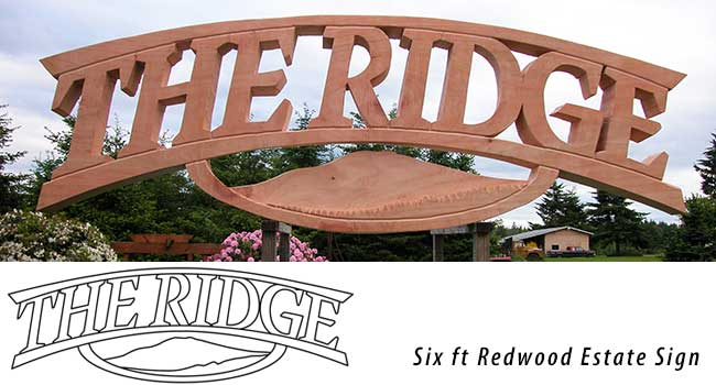 Hand carved six ft redwood estate sign