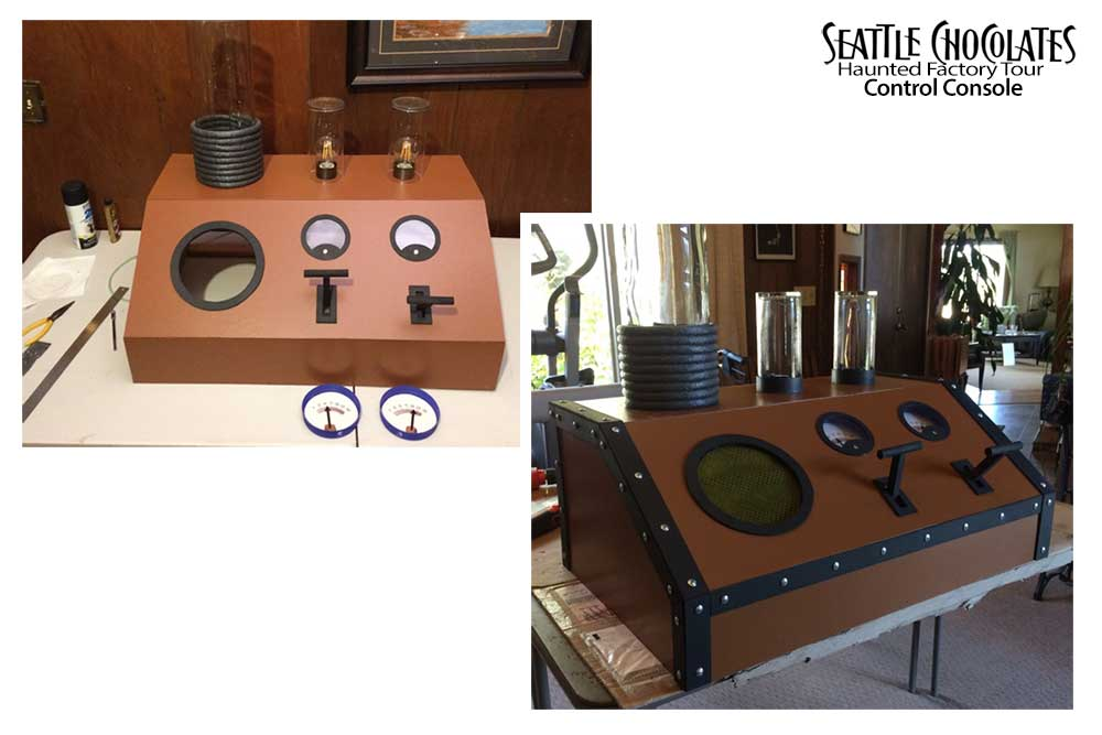Design and build a steampunk control console for Seattle Chocolates Haunted Factory Tour