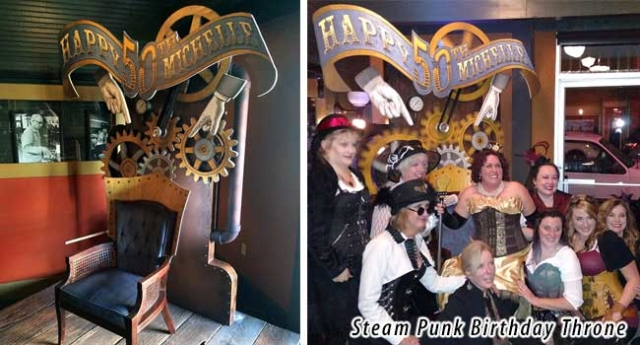 Steampunk throne designed for a 50th birthday party