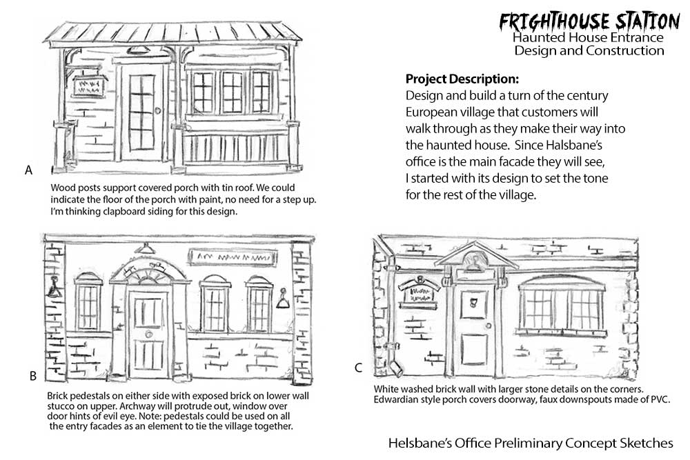 Haunted house entrance design and construction