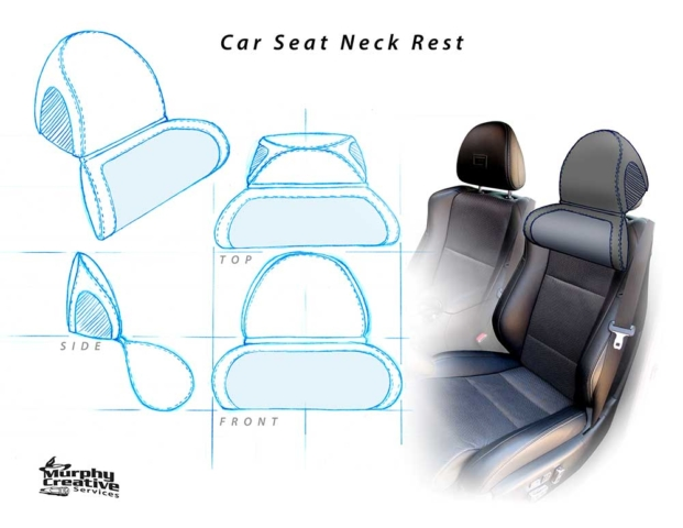 A clever neck pillow concept that would slip over a cars headrest.