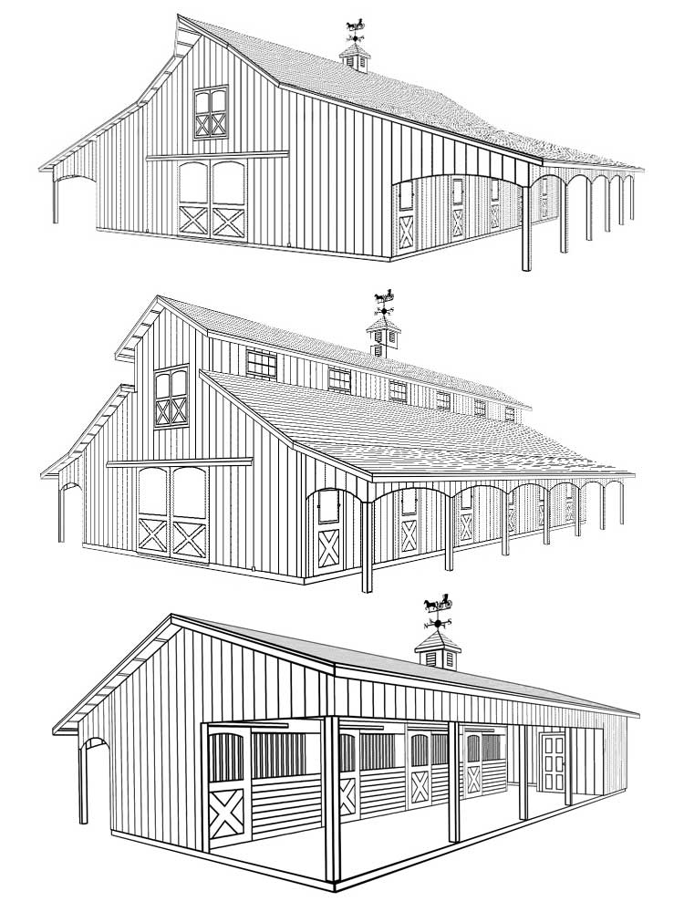 Three drawings of different barn styles