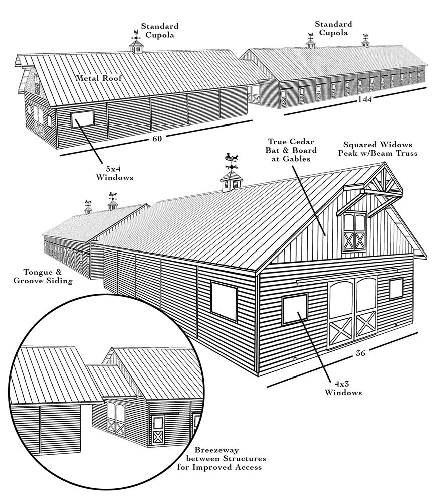 Drawing of barns created for sales presentation