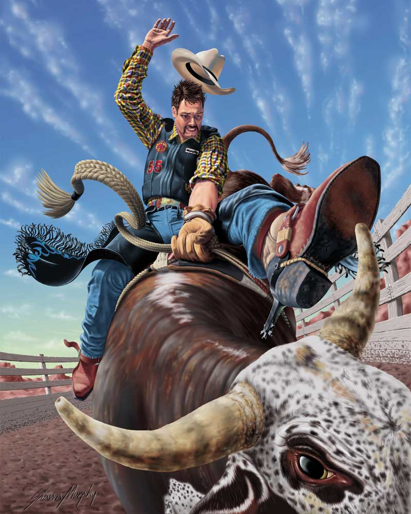 illustration of a bull rider with extreme perspective