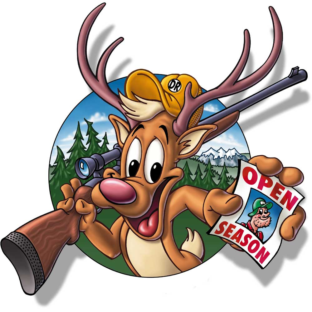 Cartoon deer with rifle is now the hunter