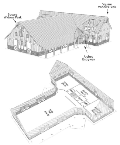 Drawing of a proposed barn styled event center