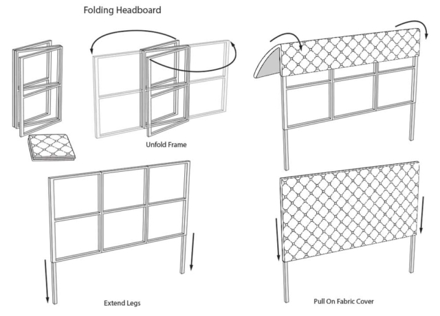 Concept drawing showing how a folding headboard would be assemblied