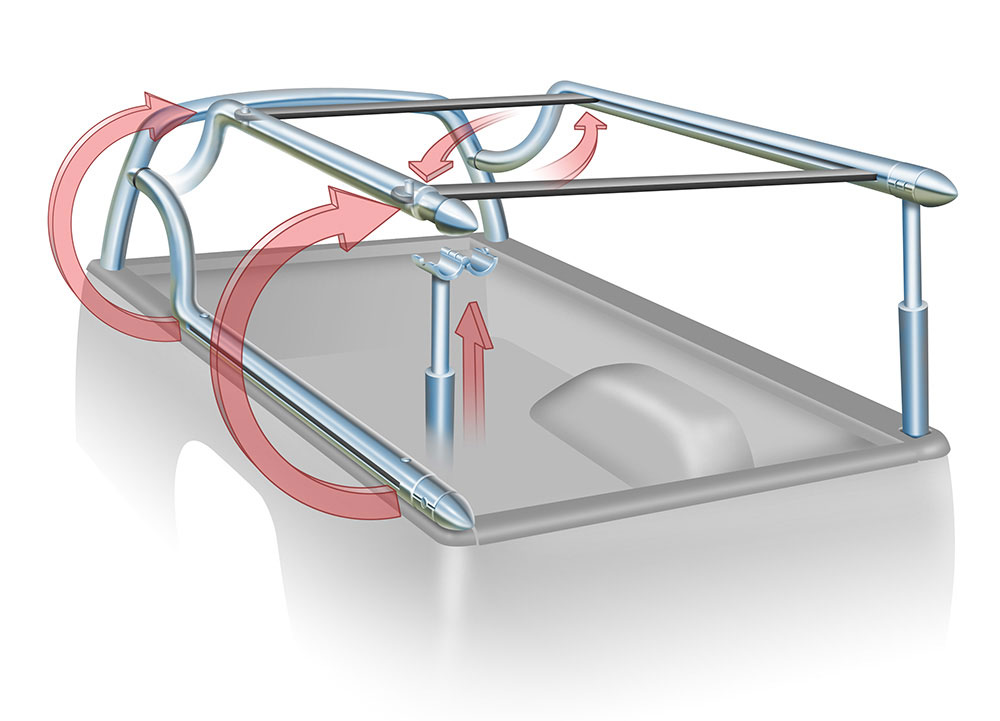 Concept drawing of a truck bed rack that can fold out of the way