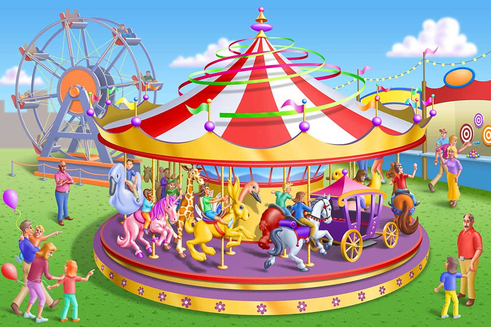 A veiw of a carousel at a circus