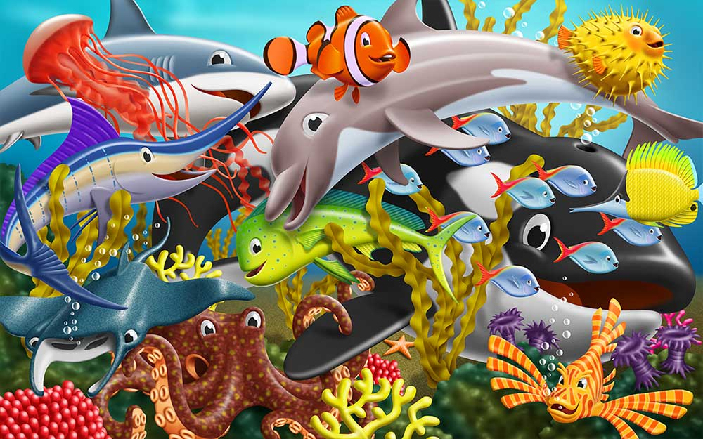 Happy sea creatures gathered together