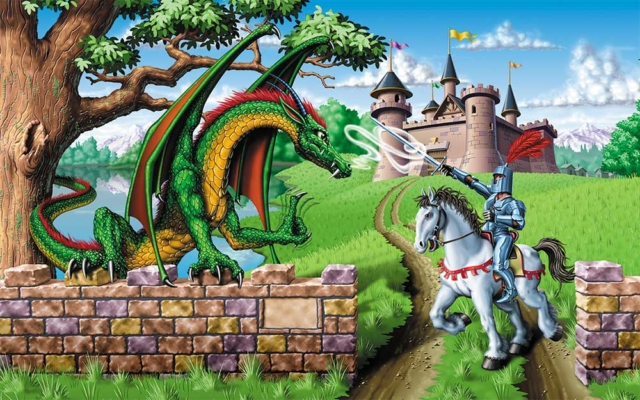 Knight confronts dragon in front of castle
