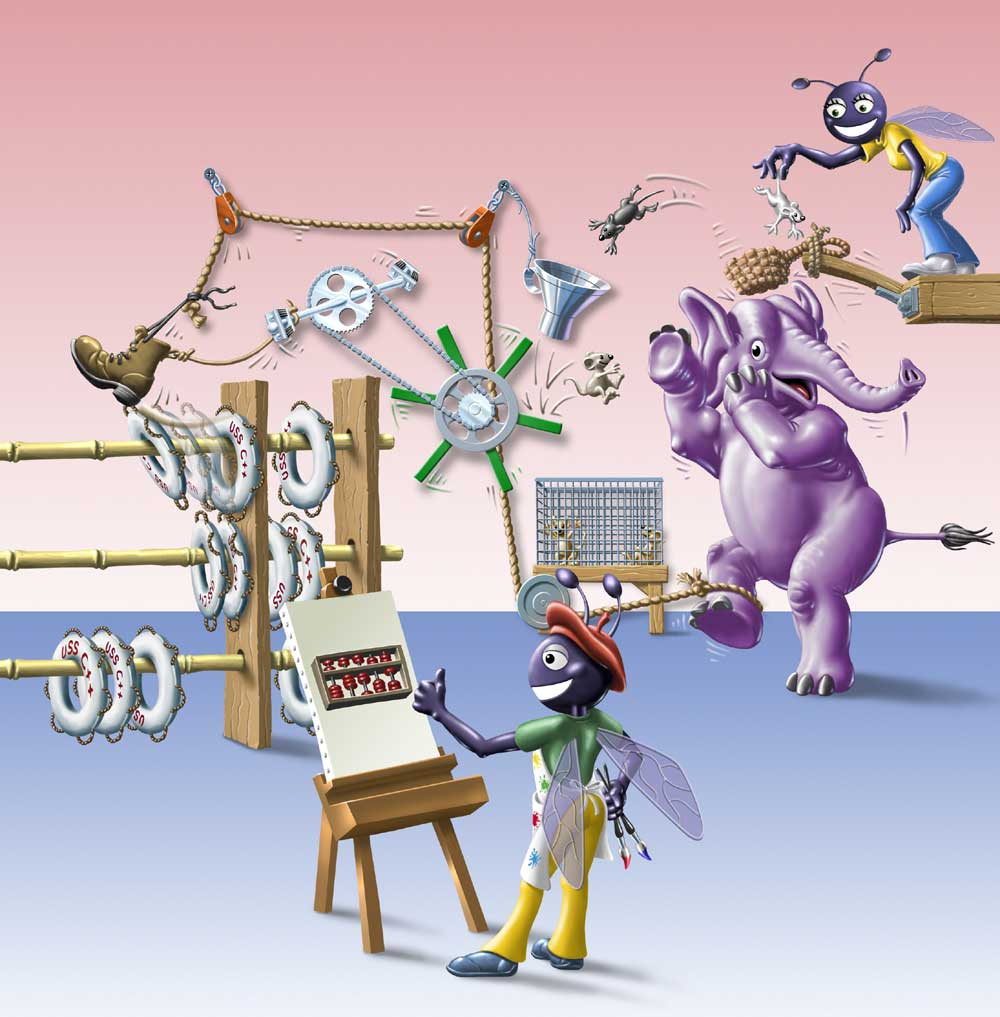 Cartoon characters operating a Rube Goldberg contraption