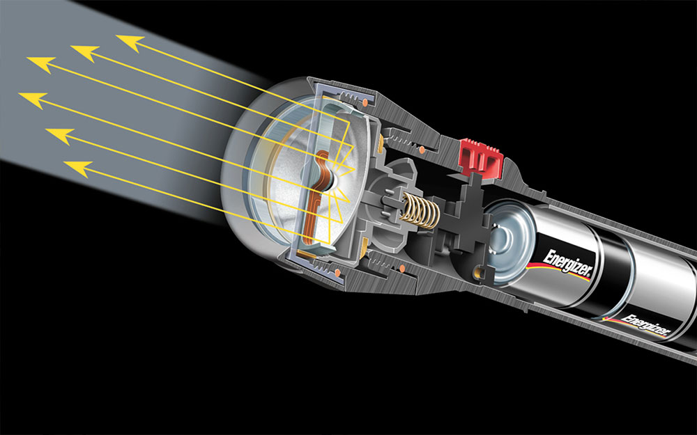 Cutaway illustration of a flashlight