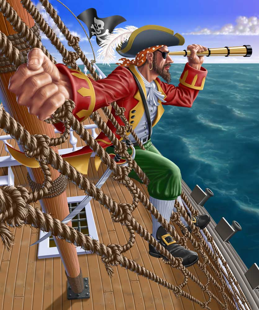 A pirate in the rigging of his ship looking through a spyglass