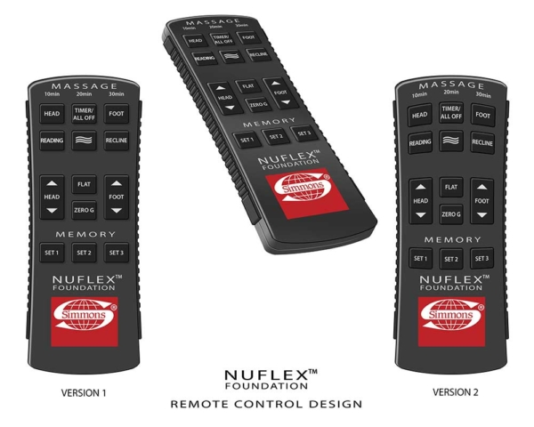 Illustrations of an adjustable bed remote control