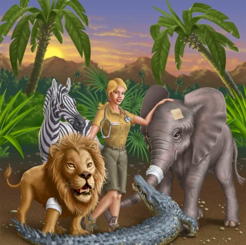 A female veterinarian standing in a jungle surrounded by animals